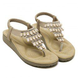 Elastic Faux Leather Beading Sandals