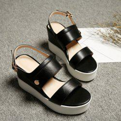 PU Leather Platform Wedge Sandals