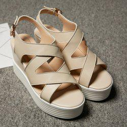 Cross Strap Platform Wedge Sandals