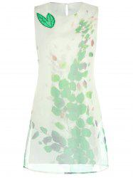 Leaves Print Organza Mini Trapeze Dress