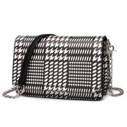 Houndstooth Print Chain Crossbody Bag