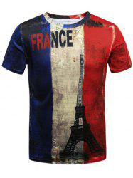 Distressed French Flag 3D Eiffel Tower Print T-Shirt
