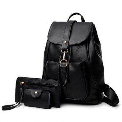 3 Pieces Faux Leather Backpack Set