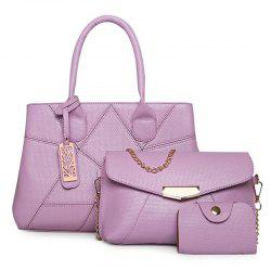 PU Leather Geometric Pattern Handbag Set