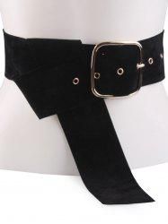 Rectangle Metal Pin Buckle Velvet Belt