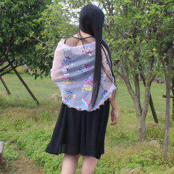 Triangle Colorful Flowers Printed Shawl Scarf