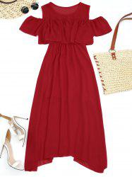 High Waist Flounce Cold Shoulder Dress - RED