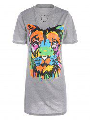 Keyhole Lion Print Mini Tee Dress