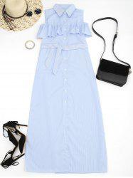 Cold Shoulder Flounce Belted Striped Dress
