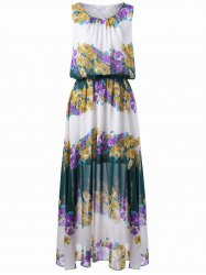 Sleeveless Floral Print Chiffon Dress