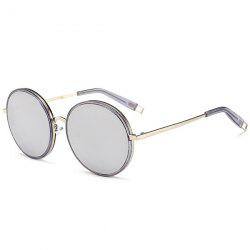 Hollow Out Leg Round Mirrored Sunglasses - SLIVER FRAME+MERCURY LENS