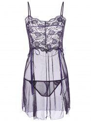Slit Mesh Sheer Babydoll with Panties - DEEP PURPLE