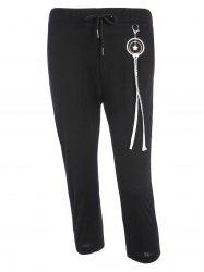 Metal Design High Waisted Pants with Pockets