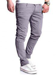 Basic Zipper Fly Straight Leg Pants - GRAY