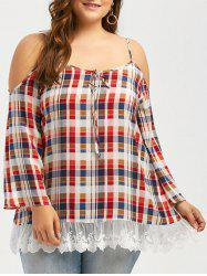 Plus Size Dew Shoulder Lace Hem Plaid Blouse