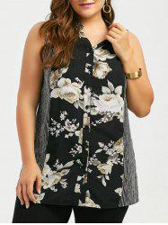 Plus Size Sleeveless Stripe Floral Blouse
