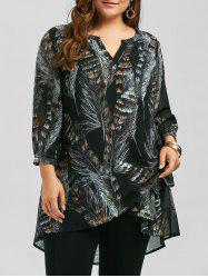 Plus Size Long Sleeve Feather Print Tunic Top - BLACK