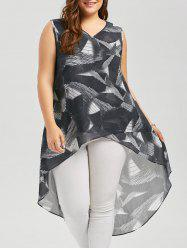 Sleeveless High Low Print Plus Size Top