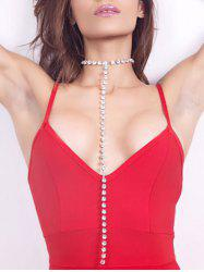 Alloy Rhinestone Long Chain Necklace