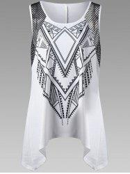 Plus Size Openwork Trim Geometric Tank Top