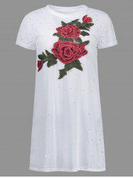Distressed Floral Embroidered Mini Shift T-shirt Dress - WHITE L