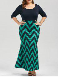 Scoop Neck Plus Size Chevron Maxi Mermaid Dress