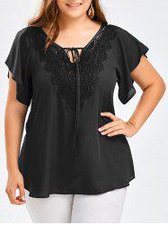 Plus Size Lace Panel Tie Front Blouse