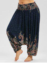 Paisley Print Plus Size Drop Crotch Pants - PURPLISH BLUE