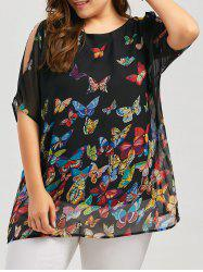 Slit Sleeve Butterfly Print Plus Size Blouse - Noir