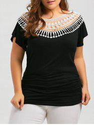 Plus Size Short Sleeve Hollow Out Panel T-shirt