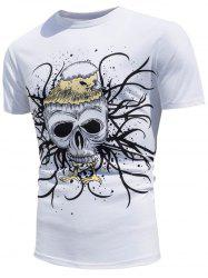 Skull Printed Color Changing T-Shirt - WHITE
