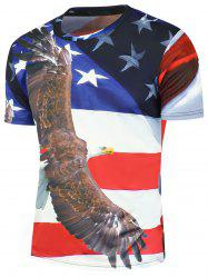 3D Bald Eagle American Flag Printed Patriotic T-Shirt - COLORMIX
