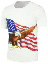 3D Bald Eagle American Flag Printed T-Shirt