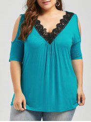 Plus Size Lace Trim Cold Shoulder V Neck Flowy Top