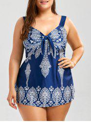 Printed Plus Size Swim Top - BLUE AND WHITE