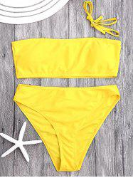 High Cut Bandeau Bikini Set - YELLOW