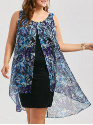 Chiffon Insert Layered Plus Size High Low Sleeveless Dress - BLUE