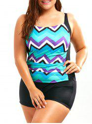 Chevron Print Plus Size Boyleg Swimwear