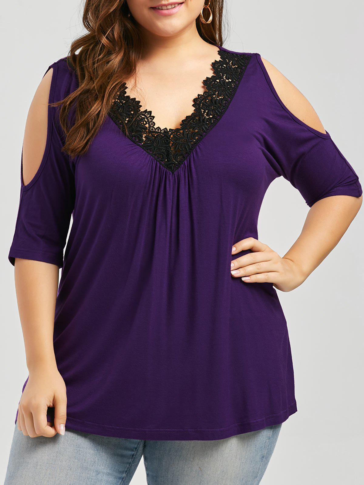 Plus Size Lace Trim Cold Shoulder V Neck Flowy TopWOMEN<br><br>Size: XL; Color: PURPLE; Material: Cotton,Cotton Blends,Polyester; Shirt Length: Regular; Sleeve Length: Short; Collar: V-Neck; Style: Fashion; Season: Spring,Summer; Embellishment: Hollow Out; Pattern Type: Solid; Weight: 0.3400kg; Package Contents: 1 x Top;