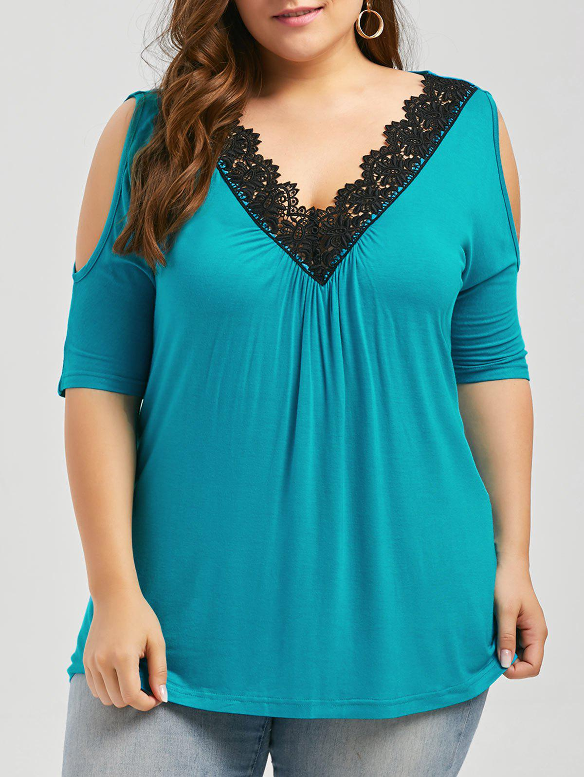 Plus Size Lace Trim Cold Shoulder V Neck Flowy TopWOMEN<br><br>Size: 4XL; Color: OASIS; Material: Cotton,Cotton Blends,Polyester; Shirt Length: Regular; Sleeve Length: Short; Collar: V-Neck; Style: Fashion; Season: Spring,Summer; Embellishment: Hollow Out; Pattern Type: Solid; Weight: 0.3400kg; Package Contents: 1 x Top;