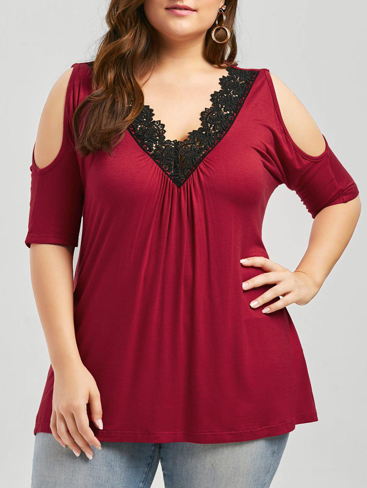 Plus Size Lace Trim Cold Shoulder V Neck Flowy TopWOMEN<br><br>Size: 5XL; Color: RED; Material: Cotton,Cotton Blends,Polyester; Shirt Length: Regular; Sleeve Length: Short; Collar: V-Neck; Style: Fashion; Season: Spring,Summer; Embellishment: Hollow Out; Pattern Type: Solid; Weight: 0.3400kg; Package Contents: 1 x Top;