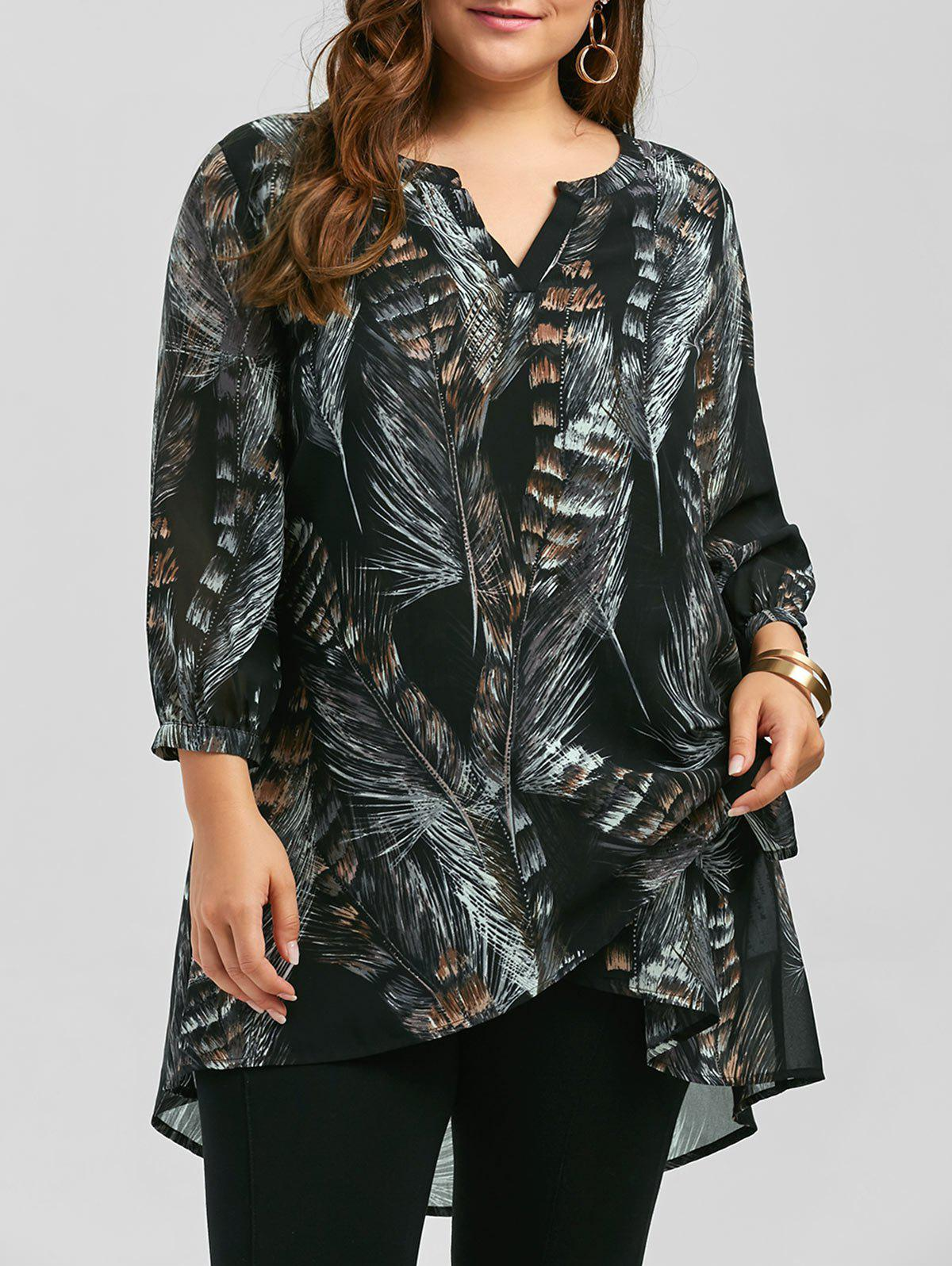 Fashion Plus Size Long Sleeve Feather Print Tunic Top