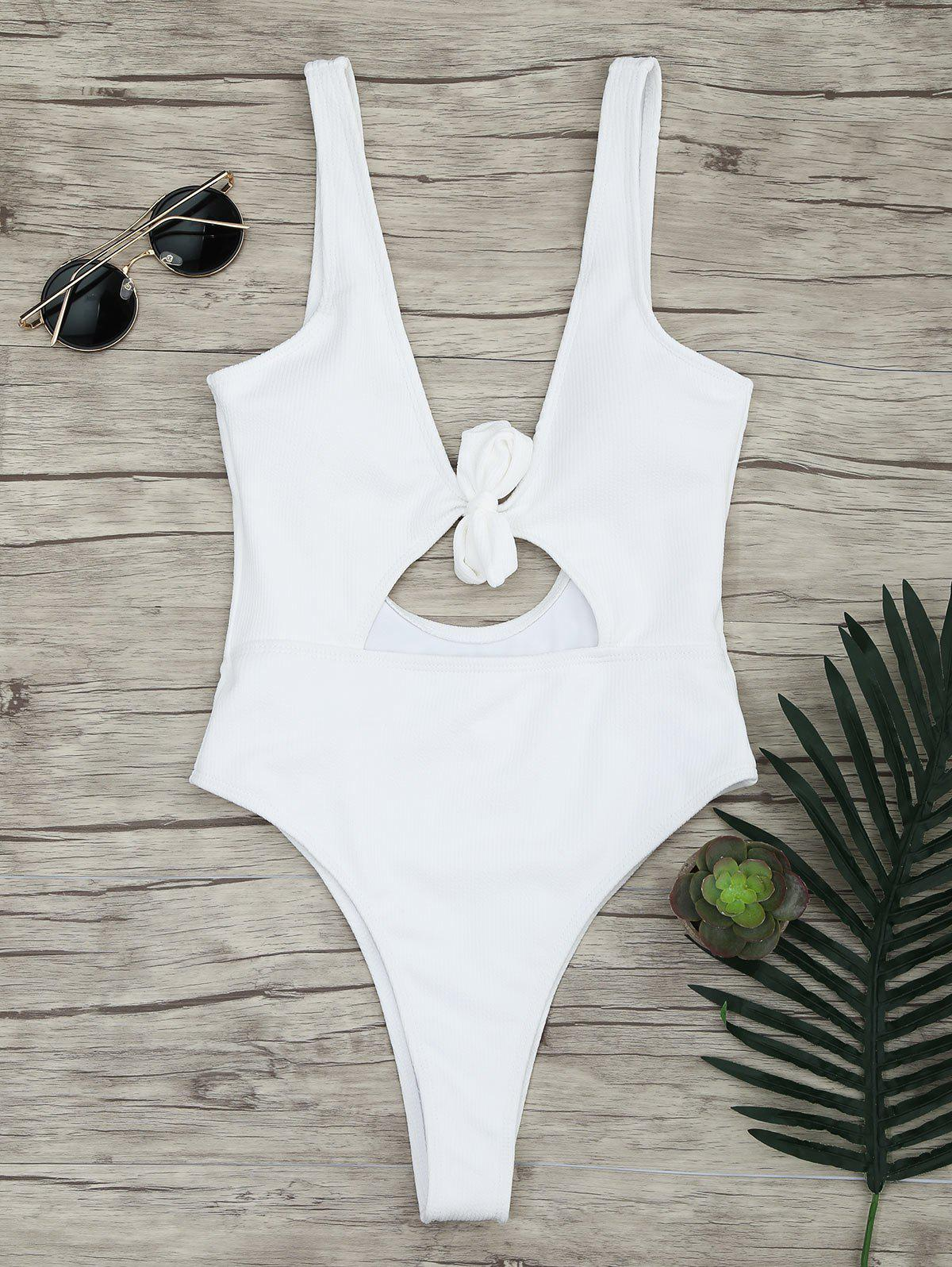 Discount One-piece Ribbed Knot Backless Swimsuit