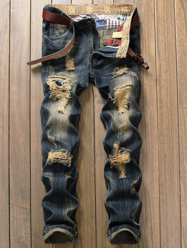 Destroyed Patch Design Zipper Fly JeansMEN<br><br>Size: 36; Color: DENIM BLUE; Material: Cotton; Pant Length: Long Pants; Fabric Type: Denim; Wash: Destroy Wash; Fit Type: Regular; Waist Type: Mid; Closure Type: Zipper Fly; Weight: 0.6800kg; Package Contents: 1 x Jeans; With Belt: No;