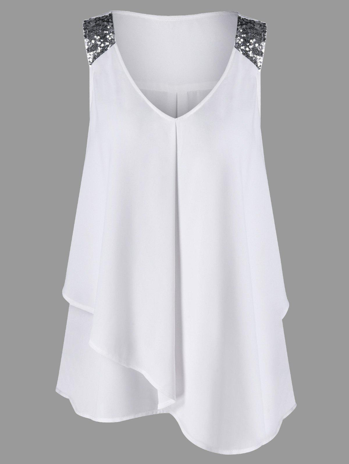 Plus Size Sequined Sleeveless Shoulder Overlap BlouseWOMEN<br><br>Size: 4XL; Color: WHITE; Material: Polyester; Shirt Length: Long; Sleeve Length: Sleeveless; Collar: V-Neck; Style: Fashion; Season: Summer; Pattern Type: Others; Weight: 0.2200kg; Package Contents: 1 x Blouse;