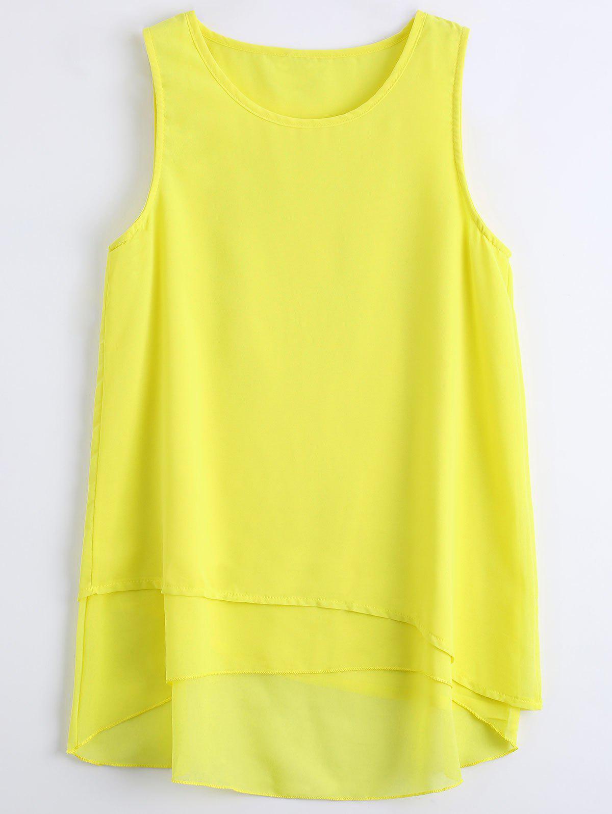 Sleeveless Asymmetric Chiffon TopWOMEN<br><br>Size: XL; Color: YELLOW; Material: Polyester; Fabric Type: Chiffon; Shirt Length: Long; Pattern Type: Solid; Style: Casual; Weight: 0.2200kg; Package Contents: 1 x Tank Top;