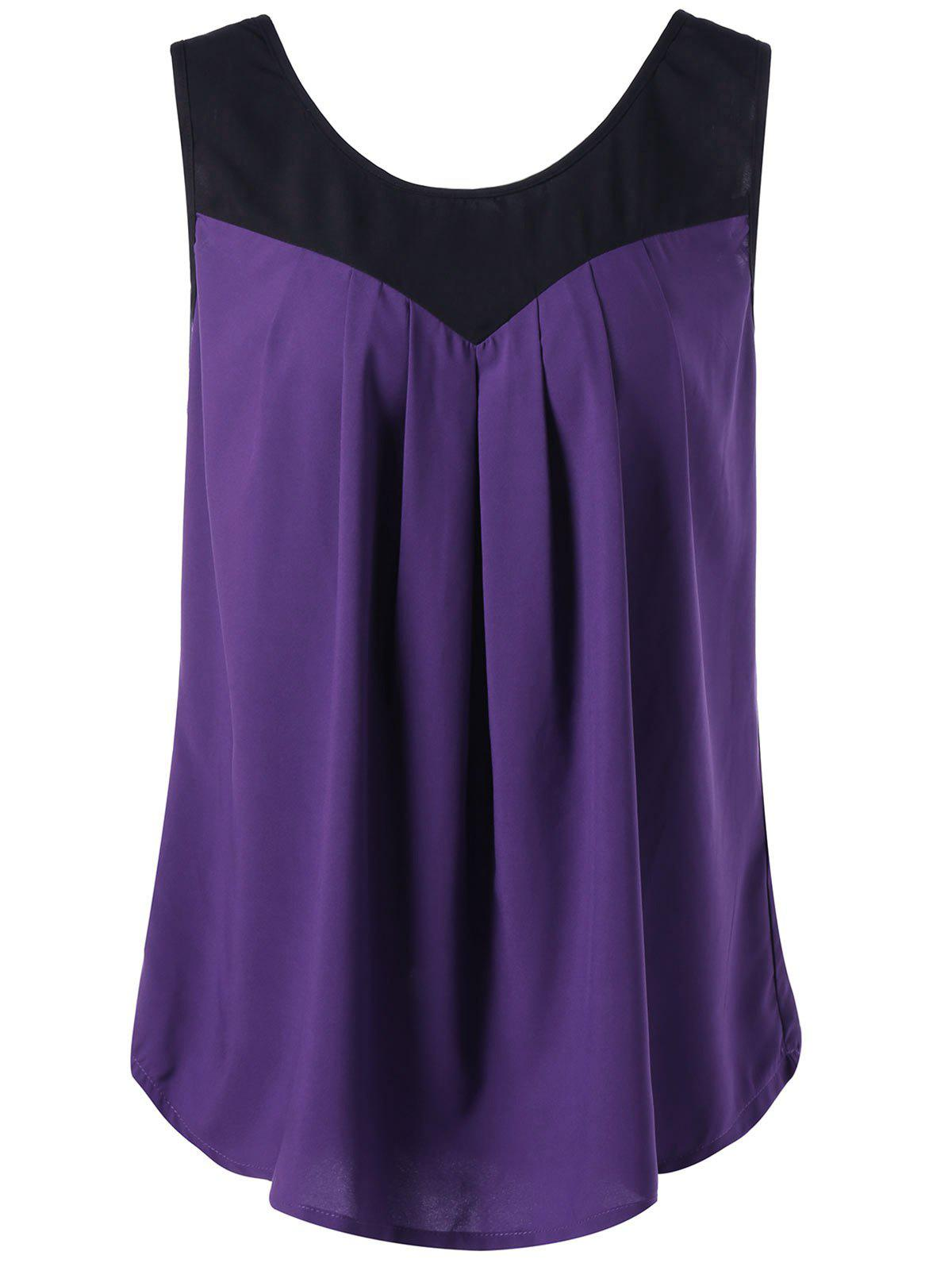 Curved Plus Size Two Tone Tank TopWOMEN<br><br>Size: 2XL; Color: PURPLE; Material: Polyester; Shirt Length: Regular; Sleeve Length: Sleeveless; Collar: Round Neck; Style: Casual; Season: Summer; Pattern Type: Solid; Weight: 0.3000kg; Package Contents: 1 x Tank Top;