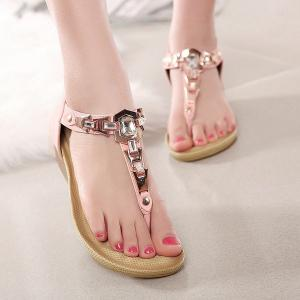 Wedge Heel Zipper Sandals - Pinkbeige - 38