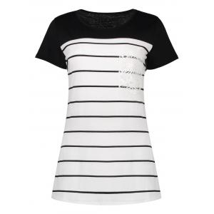 Striped Contrast Lace Insert Tee
