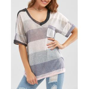 Sheer Pocketed Striped Knit T Shirt - Colormix - S